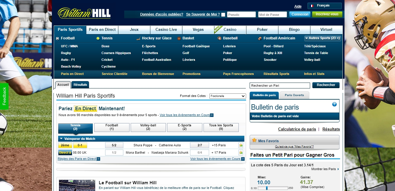 Parier sur William Hill Betting Company